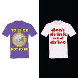 T-shirt in two color with one euro and message for drink Royalty Free Stock Photos