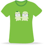 T-shirt. With two puppies. Vector illustration Stock Photography