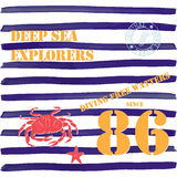T-shirt typography design, deep sea explorers printing graphics, typographic vector illustration, Navy, diving water text, graphic Stock Photo