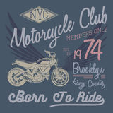 T-shirt typography design, motorcycle vector, NYC printing graphics, typographic vector illustration, New York riders graphic desi Royalty Free Stock Photos