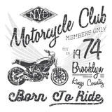 T-shirt typography design, motorcycle vector, NYC printing graphics, typographic vector illustration, New York riders graphic desi Royalty Free Stock Image
