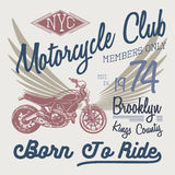 T-shirt typography design, motorcycle vector, NYC printing graphics, typographic vector illustration, New York riders graphic desi Royalty Free Stock Photography