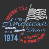 T-shirt typography design, USA printing graphics, typographic american vector illustration, united states graphic design for label Stock Photos