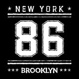 T shirt typography graphic New York Brooklyn. Street graphic style NYC. Grunge fashion stylish print for sports wear. Athletic college team. Template apparel Stock Photography