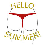 T shirt typography graphics Hello summer Sexy butt Stock Images