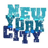 T shirt typography New York blue. T shirt typography graphics New York. Athletic style NYC. Fashion american stylish print for sports wear. Blue on white emblem Stock Photo