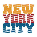 T shirt typography New York blue red orange stars Royalty Free Stock Photo