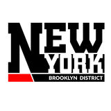 T shirt typography New York Brooklyn. T shirt typography graphics New York. Athletic style NYC. Fashion stylish print for sports wear. Black and white emblem Stock Photography