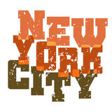 T shirt typography New York green orange Royalty Free Stock Photography