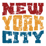 T shirt typography New York red blue yellow Royalty Free Stock Photo