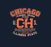 T-shirt typography print Chicago urban American theme serigraphy. Stencil cool  design classic vintage Stock Images