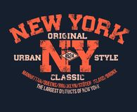 T-shirt typography print New York urban theme serigraphy stencil cool  design classic vintage template. T-shirt typography print New York urban theme serigraphy Stock Image