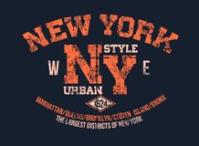 T-shirt typography print New York urban theme serigraphy stencil cool  design classic vintage template. T-shirt typography print New York urban theme serigraphy Royalty Free Stock Photo
