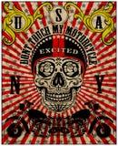 T-shirt van de de Affiche de Uitstekende Mens van de schedelmotorfiets Stock Afbeelding