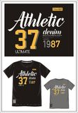 T-shirt Varsity 013. Design vector t shirt with print athletic denim 37 for men Stock Image