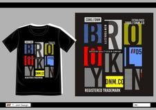T-shirt Varsity 012. Design vector t shirt with print brooklyn for men Royalty Free Stock Photos