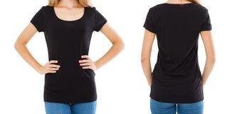 T-shirt vazio da colagem, mulher na camisa vazia de t - vistas traseiras dianteiras, tshirt preto, espaço da cópia fotos de stock royalty free