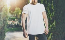 T-shirt vide blanc de port d'homme musculaire barbu de photo Effet vert de fond et de lumière du soleil de parc maquette horizont image libre de droits