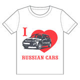 T-shirt - voitures de Russe d'amour d'I Photographie stock