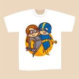 T-shirt White Print Design Superheroes Boy and Girl Stock Photos