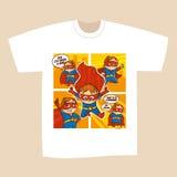 T-shirt White Print Design Superheroes Comics Stock Photos