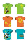 T-Shirt width Grunge vector. Front and Back views of a t-shirt created in Adobe Illustrator. AI vector. Size and color can be changed. T-Shirt width grunge Stock Image