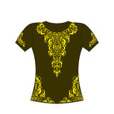 T-shirt with yellow ornament. Royalty Free Stock Photo
