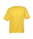T-Shirt Yellow. Yellow t-shirt shot in the studio. The t-shirt is isolated in front of white background Royalty Free Stock Images