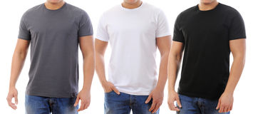 T-shirt on a young man. Young man in a T-shirt. isolated on white background Royalty Free Stock Photos