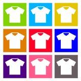 T-Shirt Zeichenikone Kleidet Symbol Rundes buntes Stockfotografie