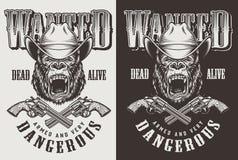 T-shirtdruk met gorillaconcept royalty-vrije illustratie