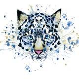T-shirtgrafiek/leuke sneeuwluipaard, illustratiewaterverf stock illustratie