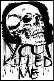 T-shirtgrafiek/schedeldruk/schedelillustratie/kwade schedel/conce royalty-vrije illustratie