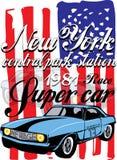 T-shirtgrafiek Uitstekende raceauto voor druk Vector Royalty-vrije Stock Foto