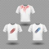 T-shirtmodel met Klauwenkrassen en menselijke aders, rood bloedvatenontwerp stock illustratie