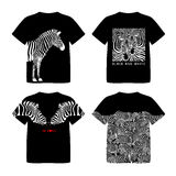 T-shirtontwerp met zebra Wilde dierlijke textuur vector illustratie