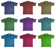 T-shirts. Sport t-shirts in nine kinds of color, isolated on white background Royalty Free Stock Photos