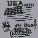 T-shirts in Amerikaan, motor, clab, t-shirts, grafisch ontwerp, origi royalty-vrije illustratie