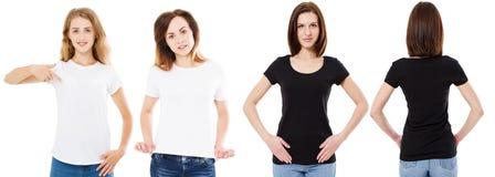 T-Shirts aufgestellt, vordere und hintere Ansichtfrau im Schwarzweiss-T-Shirt, Schein, Kopienraum, T-Shirt mit drei Frauen lizenzfreie stockbilder