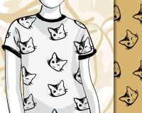 T-shirts avec des chats d'encre Images stock
