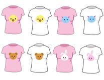 T-shirts avec les animaux mignons Photos libres de droits