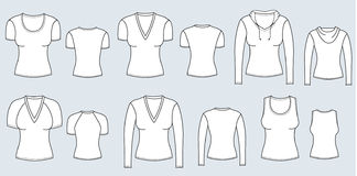 T-shirts and blouses . Vector clothes for women Stock Photography