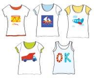 T-Shirts Design für Kinder mit Spielwaren Lizenzfreies Stockbild