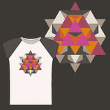 T-shirts with  Sacred geometry design Royalty Free Stock Images