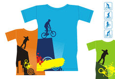 T-shirts with extreme sports 3. Composition with three T-shirts. On them extreme sports are represented. T-shirts are located on a white background Stock Images