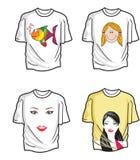 T-shirts, illustration. T-shirts, Various Designs, Four, vector illustration Stock Photos