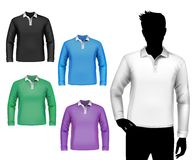 T-shirts male polo long sleeve set Royalty Free Stock Photo