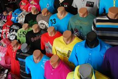 T-Shirts Market Place. Market Place with Collection of Color T-Shirt Clothes Stock Image