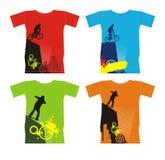 T-shirts met extreme sporten 4 stock fotografie
