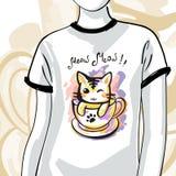 T-shirts met inktkat, manierillustratie Royalty-vrije Stock Foto's